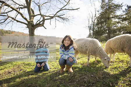 Two children at an animal sanctuary, in a paddock with sheep. Stock Photo - Premium Royalty-Free, Image code: 6118-07353471