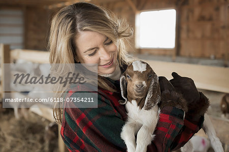 A woman cradling a young goat kid in her arms, on a farm. Stock Photo - Premium Royalty-Free, Image code: 6118-07354211