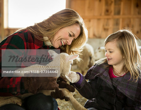 An Organic Farm in Winter in Cold Spring, New York State. Livestock overwintering. A woman and a child stroking a small lamb. Stock Photo - Premium Royalty-Free, Image code: 6118-07354442