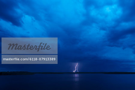 Lightning storm, Saskatchewan, Canada Stock Photo - Premium Royalty-Free, Image code: 6118-07913389