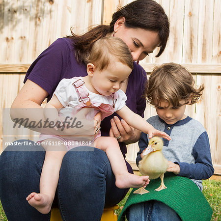 A woman and two children, with a young duckling. Stock Photo - Premium Royalty-Free, Image code: 6118-08081848