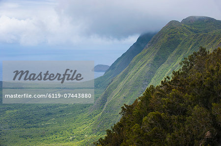 Kalaupapa overlook on the island of Molokai , Hawaii, United States of America, Pacific Stock Photo - Premium Royalty-Free, Image code: 6119-07443880