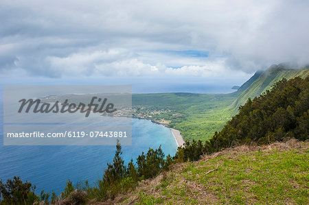 Kalaupapa viewpoint on the island of Molokai , Hawaii, United States of America, Pacific Stock Photo - Premium Royalty-Free, Image code: 6119-07443881