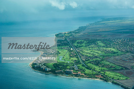 Aerial of Maui, Hawaii, United States of America, Pacific Stock Photo - Premium Royalty-Free, Image code: 6119-07443885