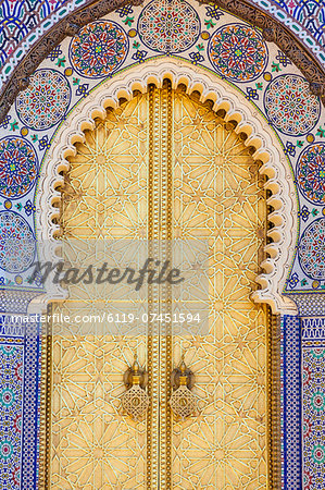 Royal Palace door, Fes, Morocco, North Africa, Africa Stock Photo - Premium Royalty-Free, Image code: 6119-07451594