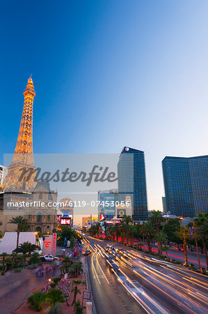 Paris Las Vegas Hotel and Casino, The Strip, Las Vegas, Nevada, United States of America, North America Stock Photo - Premium Royalty-Free, Image code: 6119-07453056
