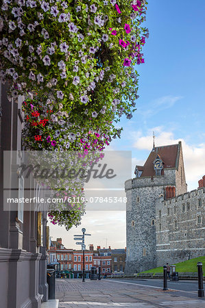 Hanging flowers in Windsor high street with Windsor Castle in the background, Windsor, Berkshire, England, United Kingdom, Europe Stock Photo - Premium Royalty-Free, Image code: 6119-07845348