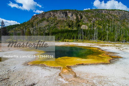 Colourful Emerald Pool, Black Sand Basin, Yellowstone National Park, UNESCO World Heritage Site, Wyoming, United States of America, North America Stock Photo - Premium Royalty-Free, Image code: 6119-07944026