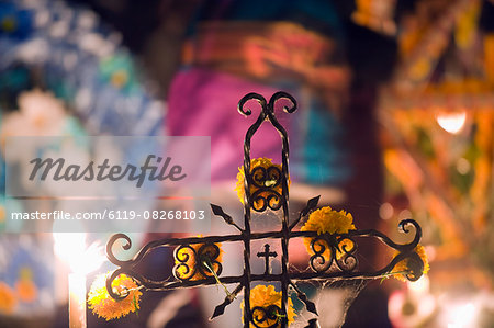 Crucifix on a grave, Dia de Muertos (Day of the Dead) festival in a cemetery on Isla Janitzio, Lago de Patzcuaro, Michoacan state, Mexico, North America Stock Photo - Premium Royalty-Free, Image code: 6119-08268103