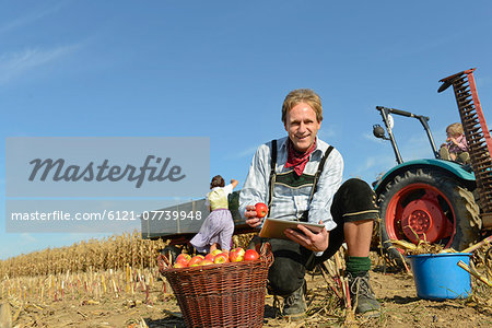 Mature man checking digital tablet in front of basket with apples, woman and son in background, Bavaria, Germany Stock Photo - Premium Royalty-Free, Image code: 6121-07739948