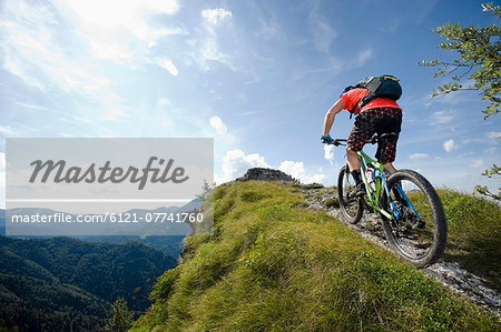 mountain biker on the way uphill, Slatnik, Istria, Slovenia Stock Photo - Premium Royalty-Free, Image code: 6121-07741760