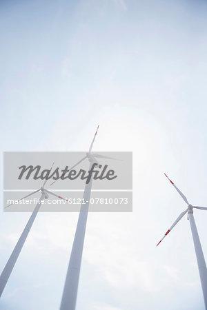 Three wind turbines energy electricity