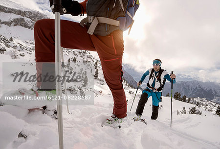 Ski mountaineers climbing on snowy mountain, Tyrol, Austria Stock Photo - Premium Royalty-Free, Image code: 6121-08228687