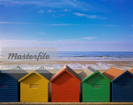 Painted Beach Huts in a Line, Whitby, England, UK Stock Photo - Premium Royalty-Free, Image code: 613-00626740