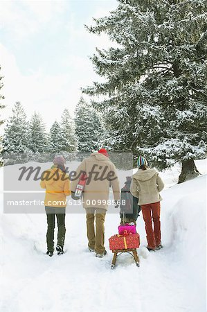 Family walking in snow, boy pulling sledge with presents, rear view Stock Photo - Premium Royalty-Free, Image code: 613-00998568