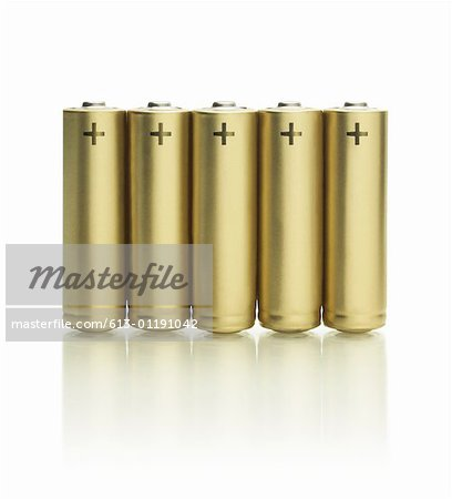 Row of batteries Stock Photo - Premium Royalty-Free, Image code: 613-01191042