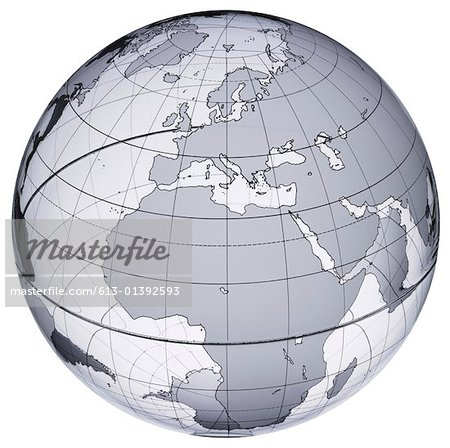 Globe with Europe and Africa prominent Stock Photo - Premium Royalty-Free, Image code: 613-01392593