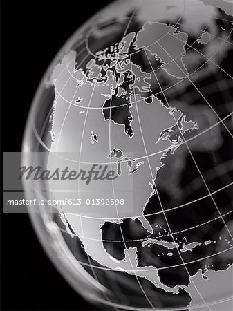 Globe with North America and Central America prominent Stock Photo - Premium Royalty-Free, Image code: 613-01392598
