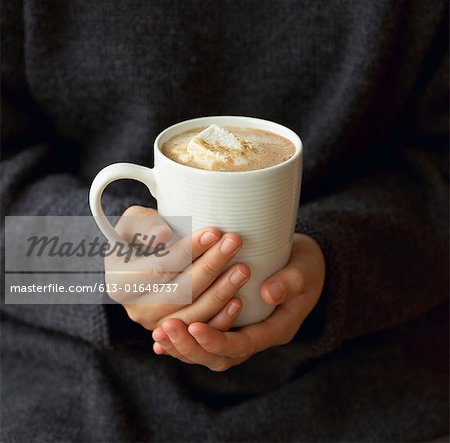 Woman holding mug of hot chocolate with melted marshmallows, mid section, close-up Stock Photo - Premium Royalty-Free, Image code: 613-01648737