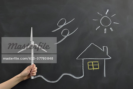 Wind power generation drawn on the blackboard Stock Photo - Premium Royalty-Free, Image code: 613-07780848