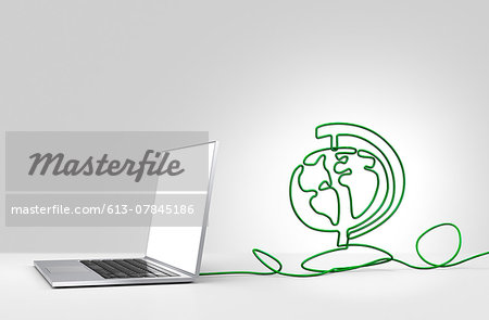 Laptop computer with cable forming a globe Stock Photo - Premium Royalty-Free, Image code: 613-07845186