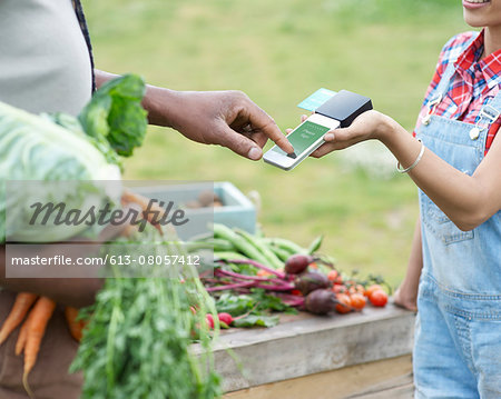 Man paying for vegetables. Stock Photo - Premium Royalty-Free, Image code: 613-08057412