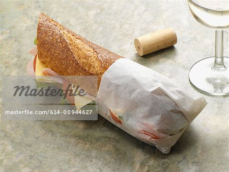 Baguette and wine Stock Photo - Premium Royalty-Free, Image code: 614-00944627