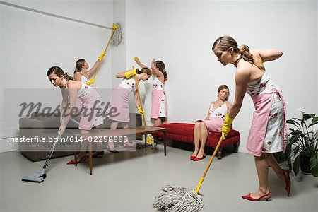 Woman cleaning Stock Photo - Premium Royalty-Free, Image code: 614-02258865