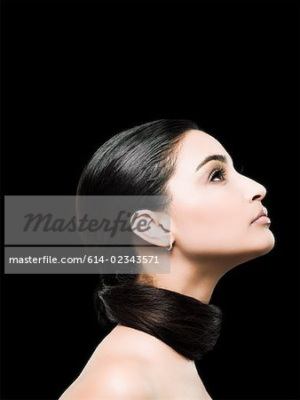 Profile of a young woman Stock Photo - Premium Royalty-Free, Image code: 614-02343571