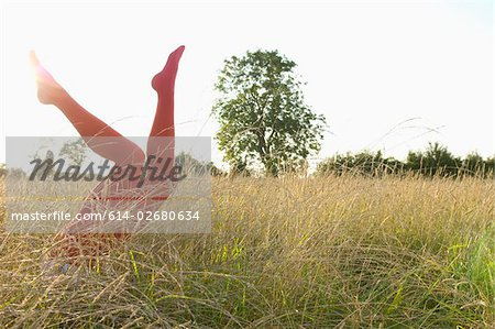 Legs of woman in a field Stock Photo - Premium Royalty-Free, Image code: 614-02680634
