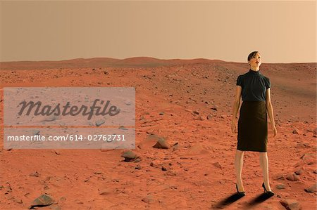 Businesswoman on mars Stock Photo - Premium Royalty-Free, Image code: 614-02762731