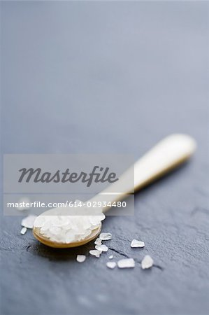 Sea salt on a spoon Stock Photo - Premium Royalty-Free, Image code: 614-02934480