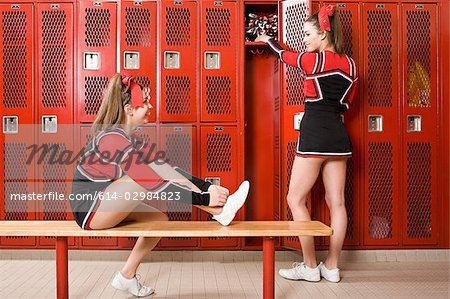 Cheerleaders in locker room
