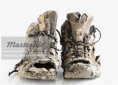 Worn out hiking boots Stock Photo - Premium Royalty-Free, Image code: 614-02984914