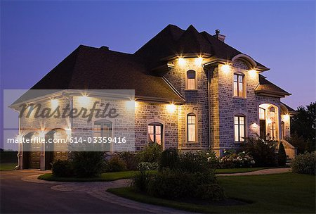 Large house with lights