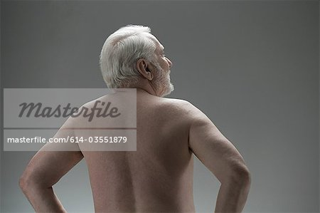Naked senior man, rear view Stock Photo - Premium Royalty-Free, Image code: 614-03551879