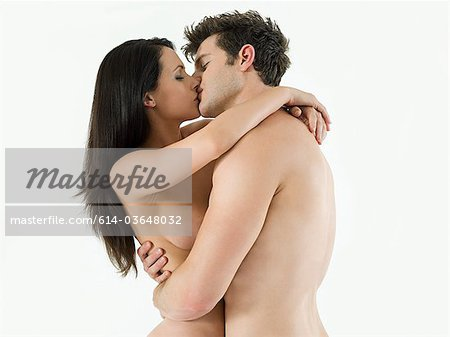 Nude couple kissing Stock Photo - Premium Royalty-Free, Image code: 614-03648032