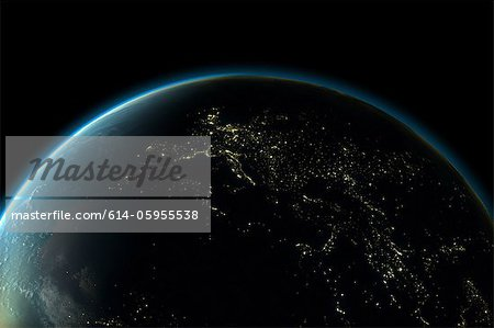 Planet earth with lights of Europe at night Stock Photo - Premium Royalty-Free, Image code: 614-05955538