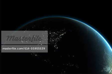 Planet earth with lights of North America at night Stock Photo - Premium Royalty-Free, Image code: 614-05955539