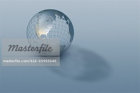 3D globe wire-frame model Stock Photo - Premium Royalty-Free, Image code: 614-05955540