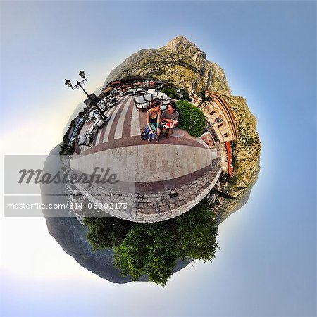 Family on vacation in Kotor, Montenegro, little planet effect Stock Photo - Premium Royalty-Free, Image code: 614-06002173