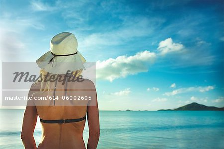 Rear view of woman in sunhat looking out to sea Stock Photo - Premium Royalty-Free, Image code: 614-06002605