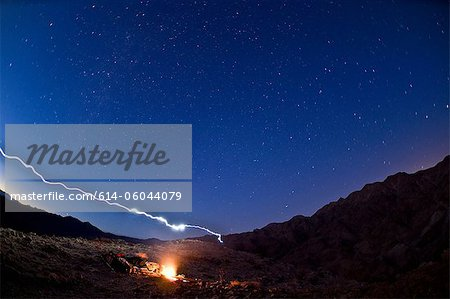 Desert campfire in Death Valley National Park, California, USA Stock Photo - Premium Royalty-Free, Image code: 614-06044079