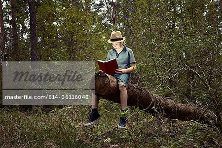 Boy sitting on tree trunk reading book Stock Photo - Premium Royalty-Free, Image code: 614-06116043