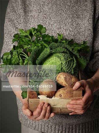 Woman holding wooden crate of vegetables Stock Photo - Premium Royalty-Free, Image code: 614-06169319