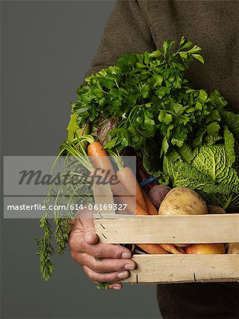 Man holding wooden crate of vegetables Stock Photo - Premium Royalty-Free, Image code: 614-06169327