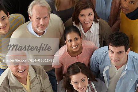 Portrait of group of people looking at camera, high angle Stock Photo - Premium Royalty-Free, Image code: 614-06311780