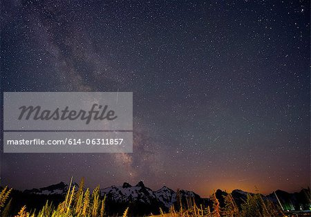 The Milky Way over The Cascades, Washington, USA Stock Photo - Premium Royalty-Free, Image code: 614-06311857
