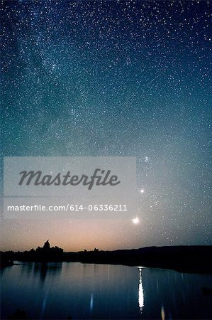 Starry sky at night, mono lake, california, usa Stock Photo - Premium Royalty-Free, Image code: 614-06336211