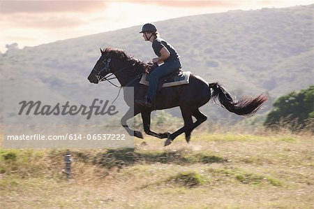 Man riding horse in rural landscape Stock Photo - Premium Royalty-Free, Image code: 614-06537222